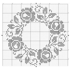 rose round doily / tablecloth by enid Cross Stitch Borders, Cross Stitch Rose, Cross Stitch Flowers, Cross Stitch Charts, Cross Stitch Designs, Cross Stitching, Cross Stitch Embroidery, Embroidery Patterns, Cross Stitch Patterns