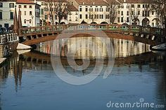 Bridges and canals in Treviso, north Italy, Europe.