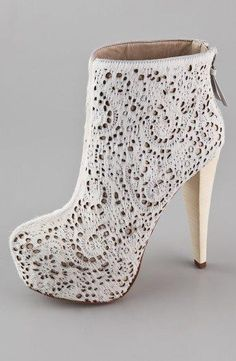 White lace... #high heels #Shoes