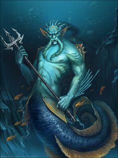Merman by ? Magical Creatures, Fantasy Creatures, Beautiful Creatures, Fantasy Mermaids, Mermaids And Mermen, Fantasy World, Fantasy Art, Mermaid Man, Scary Mermaid