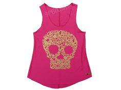 Regatas Femininas | Regata Cavada Longa Sweet Skull Pink Acesse: http://www.spbolsas.com.br/atacado/ #Regatas #Femininas #Atacado