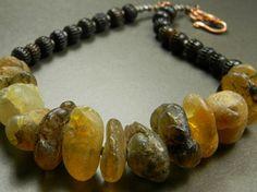 African Amber Nugget Choker Necklace Primitive OOAK   ChrysalisJewelry - Jewelry on ArtFire