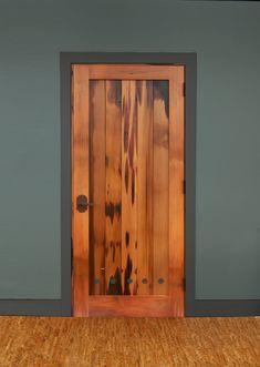 Reclaimed pickle vat stock is repurposed into an interior door. Doors, Exterior Doors, Woodworking Projects For Kids, Interior, Custom Interior Doors, Timber Frame, Wood Doors Interior, Fine Woodworking, Doors Interior