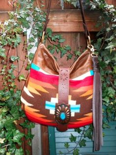 Pendleton Wool and Leather Bag Native American Purse