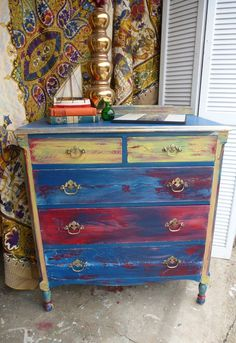 Dresser BoHo Arty Chest of Drawers Hand Painted Vintage Poppy Cottage. Hand Painted Dressers, Hand Painted Furniture, Funky Furniture, Upcycled Furniture, Shabby Chic Furniture, Furniture Makeover, Bedroom Furniture, Living Furniture, Decoupage