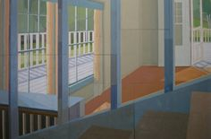 """""""Halfway down the stairs...it's somewhere else Instead!""""  by Agnes Tyson / Mixed media on ten boards / 200 x 300 cm (""""... owned by St. Vincent's Hospital.  It can be viewed at the O'Brien Centre on the corner of Victoria and Macdonald Streets in Darlinghurst, NSW, Australia."""")"""