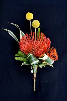 pincushion protea and craspedia boutonniere Boutonnieres, Orange Boutonniere, Corsage And Boutonniere, Groom Boutonniere, Homecoming Flowers, Prom Flowers, Wedding Flowers, Deco Floral, Arte Floral