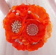 ORANGE BROOCH BOUQUET   Bridal Brooch Bouquet  by MemoryWedding
