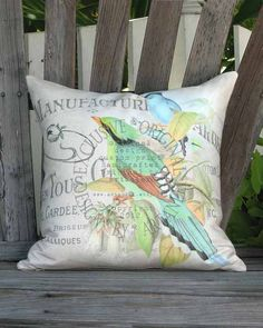 French Script and Bird Pillow  Green and Aqua Magpie by artanlei, $35.00