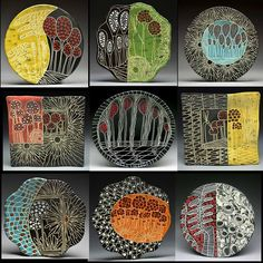Marcy Neiditz - One Voice, Nine Plates click the image or link for more info. Clay Tiles, Ceramic Clay, Ceramic Painting, Ceramic Plates, Ceramic Artists, Pottery Plates, Ceramic Pottery, Slab Ceramics, Talavera Pottery