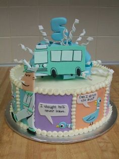 """This works for kids over 20, right? I love Mo Willems' """"Don't Let The Pigeon Drive The Bus."""" #bus #cake"""