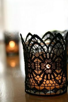 Lace candle holder.
