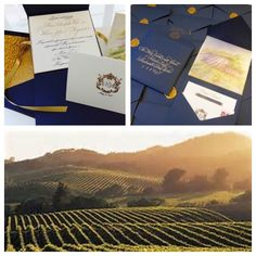 Napa Wedding - Navy and Gold - Classic and Elegant! Invitation xo embellishments