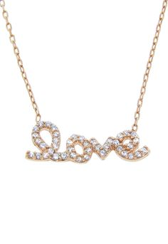 Rose Gold Over Sterling Silver Pave Love Necklace - Beyond the Rack