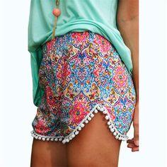 High Waist Paisley Tassel Shorts