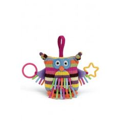 JELLYCAT HOOT OWL. Our colourful 15 cm tall Hoot Owl activity toy for baby features crinkling textures, a chime, teething rings, and more.