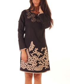 Another great find on #zulily! Black Embroidered Notch Neck Dress #zulilyfinds