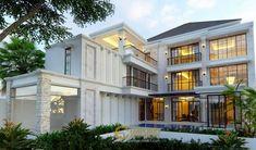 Desain Rumah Classic 3 Lantai Ibu Ines di Jakarta Classic House Exterior, Classic House Design, Modern Exterior House Designs, Cool House Designs, Beautiful House Plans, Beautiful Homes, Maids Room, Architectural Services, Good House