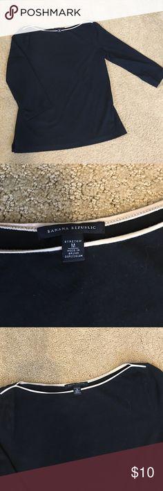 Banana Republic Black -3/4 sleeve- boat neck shirt Black 3/4 sleeve shirt with tan piping around neckline. Banana Republic Tops Tees - Long Sleeve