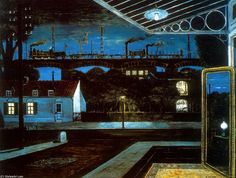 """The Viaduct"" by Paul Delvaux (1963) Thyssen-Bornemisza Museum, Madrid"