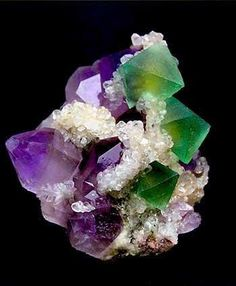 Amethyst (purple) and Fluorite (green)