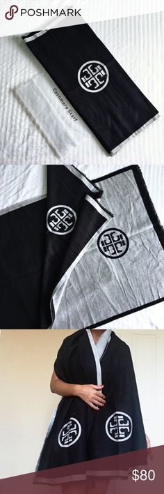 """⚜️Tory Burch Cashmere Shawl⚜️ Tory Burch® Cashmere Shawl  Oversized Reversible 2 in 1 Shawl !!  Material: Cashmere/Cotton Blend Quality Pashmina.  Colors: Black /Silver Grey Size: OverSized 65cm/190cm BNWP   (Package)  (No Tags; Only """"Dry Clean"""" tag) Tory Burch Accessories Scarves & Wraps"""