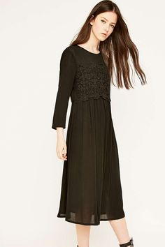 Pins & Needles Black Lace Overlay Midi Dress