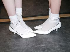 Calvin Klein — Shoes before the show. Socks And Heels, Ankle Socks, Runway Shoes, Calvin Klein Shoes, Cute Socks, Girls Socks, Colorful Socks, Sock Shoes, Thigh Highs