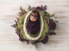 Purples & greens always remind me of new beginnings as we start seeing redbuds blooming in Oklahoma. Tieback & matching wrap: Manly And Pretty Little Things Roving braid: Art My Blanket Fur basket filler: Beautiful Photo Props Dreamweaver bowl: JD Vintage Props #tulsanewbornphotographer #tulsanewborns #newbornportraits #tulsamaternityphotographer #fullfeatherphotography floral ring newborn posing flower wreath