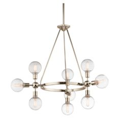 Mid-Century Modern chandelier from the Garim collection by Kichler. Mid Century Modern Chandelier, Bathroom Sconces, Painting Trim, Outdoor Sconces, Ceiling Height, Glass Globe, Mid Century Design, Candelabra, Home Lighting