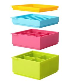 Save space in a full freezer—and add flair cool drinks—with this set of stackable ice cube trays. Four color-coded trays feature different sized ice cubes, including a long, skinny version that's thin enough to fit inside water bottles.