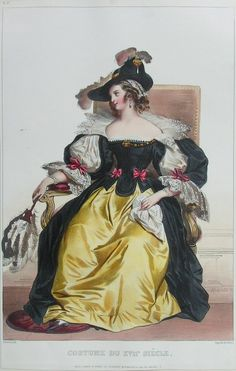 "Antique Chromo-lithograph - ""No. 7 Costume de XVIIe Siecle"" by Cattier De after A Deveria."