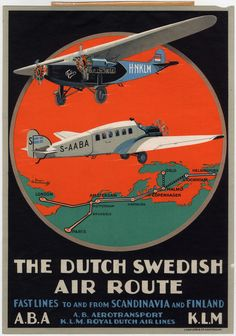 The Dutch Swedish Air Route Poster, Advertising, Commercial Aviation, c.1930