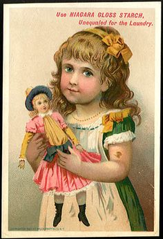 Trade Card - Pretty Girl & Doll | Niagara Gloss Starch laundry