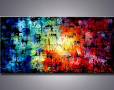 """60"""" Large Abstract Painting, Art Painting Large modern abstract painting sofa knife art direct from the artist"""