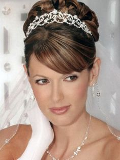 Side swept bangs-classic wedding hair