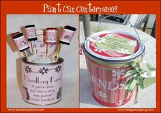 paint can center pieces for a housewarming party!