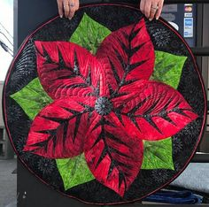 Poinsettia, Quiltworx.com, Made by CI Kathi Sweet Table Topper Patterns, Foundation Paper Piecing, Textile Artists, Poinsettia, Quilt Making, Quilting Designs, Table Runners, Quad, Fabric Design