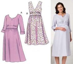 Kwik Sew Maternity Empire Dress Pattern from @fabricdotcom  Maternity dresses are designed for light to medium weight woven fabric. Suggested fabrics: Cotton, cotton types, linen, challis, silk and silk like fabrics. Maternity dresses have empire waist with front bodice gathered to waist band, skirt gathered at waist, center back zipper, and ties that tie at back. View A has round neckline and center front slit finished with facing, and three-quarter length sleeves with slit finished with…