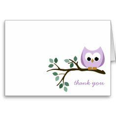 Purple Owl Thank You Card