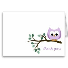 Purple Owl Thank You Card