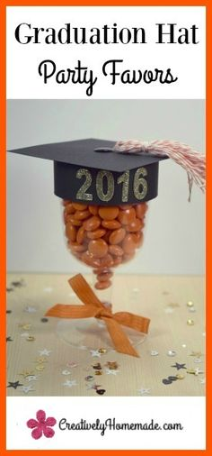 Filled with chocolate candies and made with lots of love, these graduation hat party favors are sure to be a hit at any grad party. Graduation Party Favors, College Graduation Parties, Graduation Celebration, Grad Parties, Phd Graduation, Graduation Crafts, Graduation Decorations, Graduation Ideas, Chocolate Bonbon