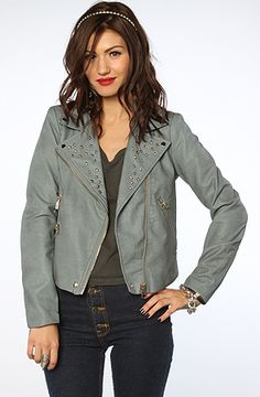 Style Hunter | The Talk Amongst Yourselves Studded Jacket in Baby Blue