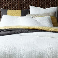 Organic Braided Matelasse Duvet Cover + Shams - Stone White #westelm Looks very comfy