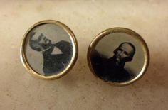 Italian Risorgimento tintype buttons - Cavour and Mazzini c 1840