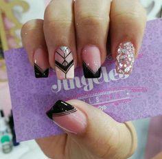 Manicure Nail Designs, Nail Polish Designs, Nail Manicure, Diy Nails, Nail Art Designs, Dark Color Nails, Nail Colors, Love Nails, Pretty Nails