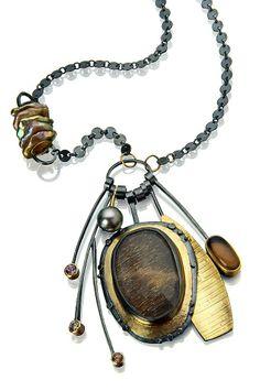 Necklace | Sydney Lynch. Feldspar, smoky quartz, pearl, zircons, champagne diamond, 18k & 22k gold, oxidized sterling silver