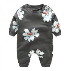 * Floral print<br /> * Long sleeves<br /> * Snaps bottom<br /> * Include: 1 top, 1 bottom<br /> * Material: 95% Cotton, 5% Others<br /> * Machine wash, tumble dry<br /> * Imported<br /> <br /> Beautiful floral print adds sweet and fairy charm to this long-sleeve jumpsuit with bottom snaps to make diaper changes quick and easy.