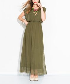 Take a look at this Khaki Rose-Neckline Maxi Dress on zulily today!