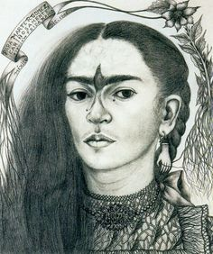 Self-portrait, Drawing by Frida Kahlo (1907-1954, Mexico)